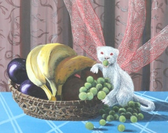 Still Life, Albino Flutter Ferret with Basket of Fruit on blue tablecloth, PRINT of acrylic fantasy painting