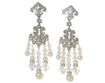 Clear AB Crystal & WHITE PEARL Chandelier Earrings Swarovski Elements Bride's Bridal Jewelry