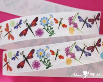 5 yards 7/8'' Dragonfly Flower Summer Printed Grosgrain Ribbon