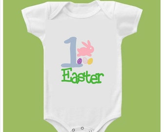 """Easter one piece short sleeves """" First Easter"""" Easter eggs and Bunny"""