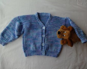 Boys or Girls Cardigan 1 to 2 years. Blue variations in Smoothie DK Yarn. 22ins chest.