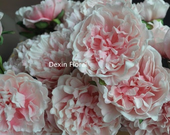 Real Touch Off-White & Blush Pink Peonies Single Stem For Silk Wedding Bridal Bouquets, Wedding Table Centerpieces