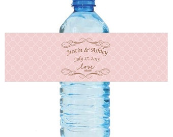 """Love Story Pink Wedding Anniversary Engagement party Water Bottle Labels 8""""x2"""" labels"""