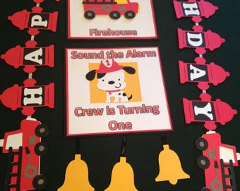 Fire Truck Party Banner with name