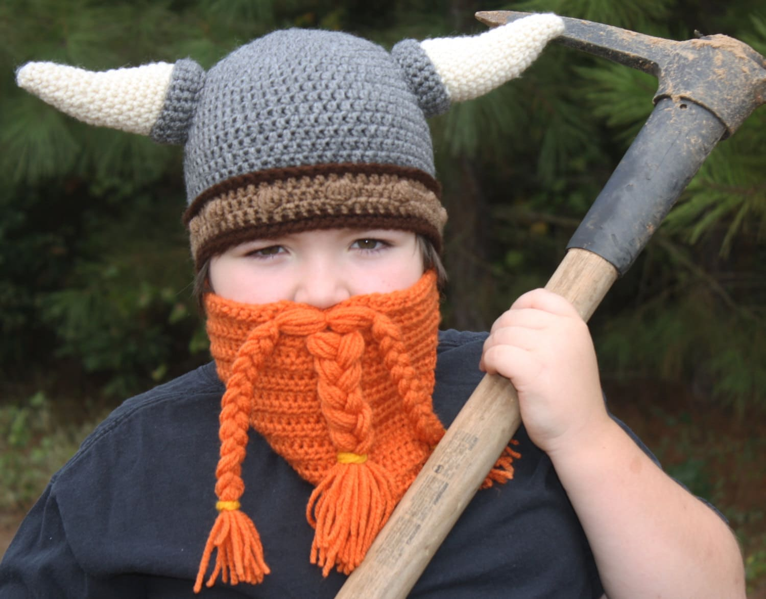 Crochet Viking Hat With Beard : Crochet Viking Helmet Hat with Beard / Viking by ThePeasantsHeir