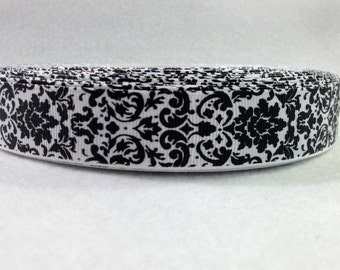 7/8 Black and White Damask Grosgrain Ribbon