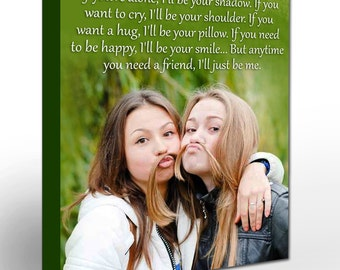 Gift for Sister or Best Friend. Gallery Wrapped Canvas Print Custom Photo. Lyrics, Song, Vows, Quotes to Your Canvas. Unique Wall Decor.