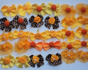 Pack of 40 variety Dog Grooming Hair Bows - Bright Orange/Brown for Fall season-1.5 inches size for small to medium dogs