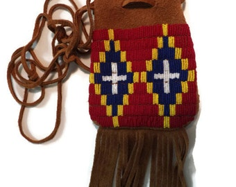 Native American Inspired Beaded Possibles Bag - MADE TO ORDER - Seed Bead Bag - Leather Fringed Bag - Indian Style - Choice of Style