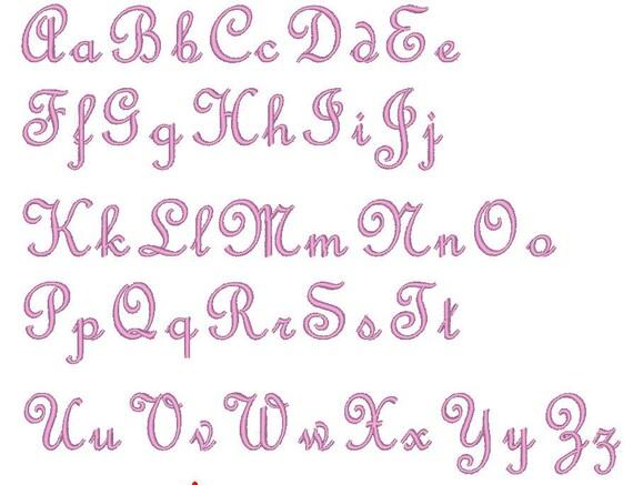Little script Elegant Font machine embroidery designs caps