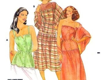 Butterick 6104 Festive Dress, Top & Shawl 1970's / SZ16 UNCUT