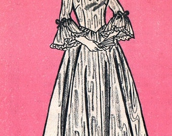 Marian Martin 9276 Misses' Epic Colonial Dress Pattern / ca. 1970's / SZ16.5 UNCUT