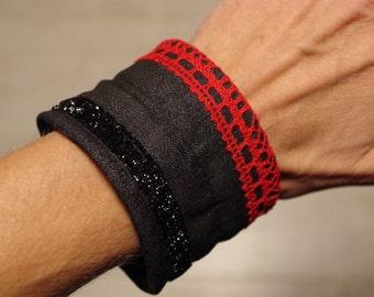 Fabric Bracelet, red and black, glitter. flexible metal frame