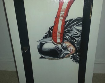Vintage Wooden Storage Cabinet Hand Painted with Batman Image