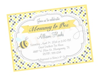 Bumble Bee Baby Shower  Party Invitation  Digital or Printed