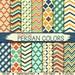 Persian Digital Paper Pack: PERSIAN Paper quatrefoil chevrons checks geometrical patterns in persian colors like blue, yellow, green