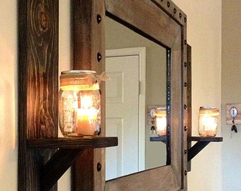 Rustic Wall Sconce, Rustic Candle Holder, Mason Jar Candle Holder, Rustic Wall Decoration, Reclaimed Wood Candle Holder, Mason Jar Sconce