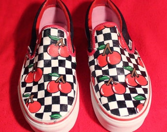 Cherry Checkered Vans Shoes Hand Painted Personalised