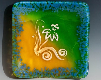 "6"" Fused Glass Dish - Floral Design"