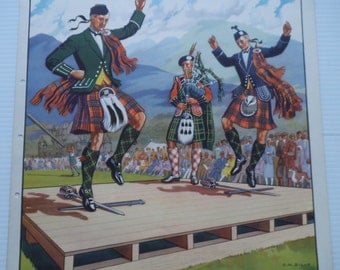 Vintage Macmillan Poster Print - Original 1930's - Children's - Sword Dance - Scottish Dance - Tartan - Bagpipes