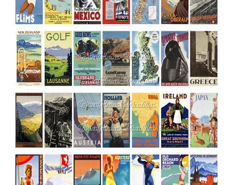 1x2 inch Rectangle Domino Instant Digital Download VINTAGE TRAVEL Collage Sheet