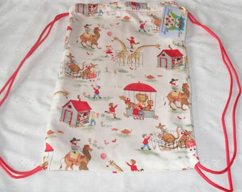 Handmade Drawstring Library Bag / Backpack with rope or ribbon straps