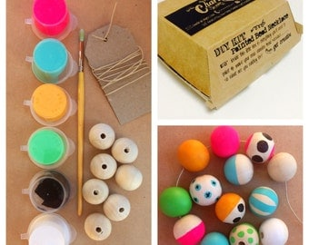 DIY Kit - Paint your own Wooden Bead Necklace