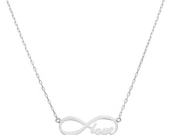 14K White Gold Love Forever Infinity Necklace - Style 2