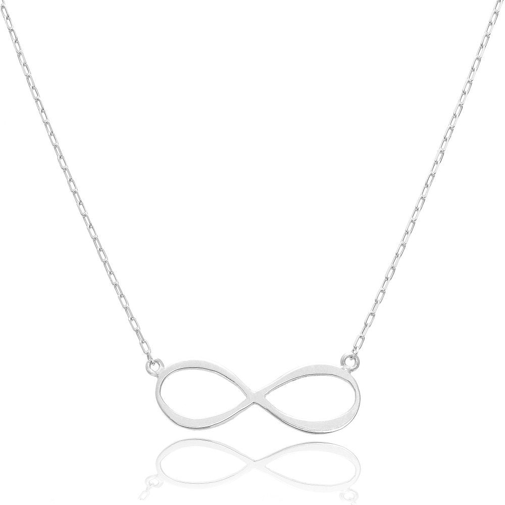14K White Gold Forever Infinity Necklace