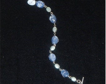 Gemstone Bracelet - Blue and Green Kyanite sterling silver wire wrapped
