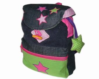 Personalized kids backpack asterisk kindergarten bag, shoulder bag made of corduroy and denim with many stars in bold colors,