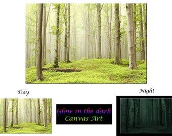 Glow in the Dark Canvas Art - Misty Spring Forest - Ready to Hang
