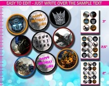 Transformers Editable Cupcake Toppers or Stickers - Instant Download and Edit with Adobe Reader