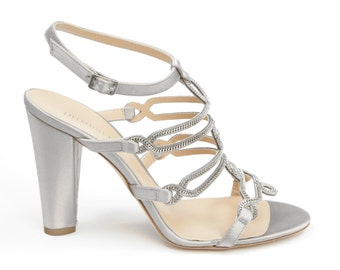 Royal jewel - grey satin heel sandal