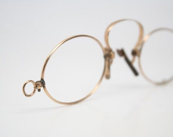 Spring Bridge Pince Nez Glasses Gold Filled  Antique Eyeglasses Vintage Spectacles Pince-Nez 1346
