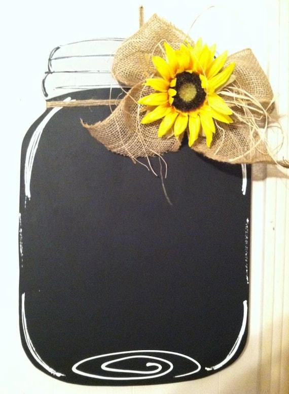 Mason Jar Door Hanger Burlap Bow Sunflower Chalkboard
