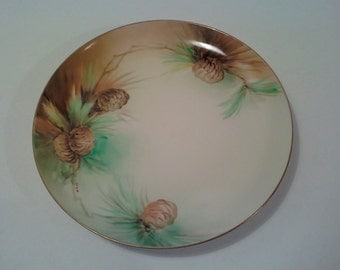 Antique Ginori Italy Porcelain Plate Stone Pine Cones American Art Studios Florence Hand Painted Gold Rimmed Signed M Dini Numbered 0436