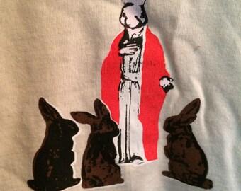 jesus bunnies rabbit silk screened tshirt t shirt