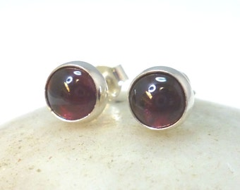 Red Garnet Stud Earrings .. 6mm Round .. Garnet Earrings .. Garnet Jewelry ..  Silver Studs .. Handmade