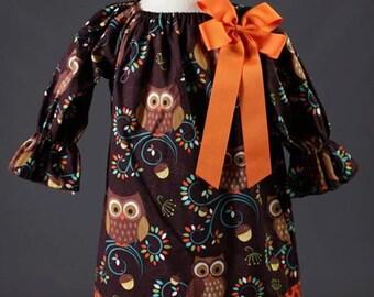 Owl Peasant Dress with Orange Ribbon Bow