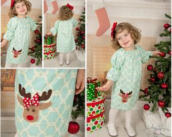 Christmas Deer Dress, Christmas Dress, Girls Christmas Dress,Applique Embroidered Dress
