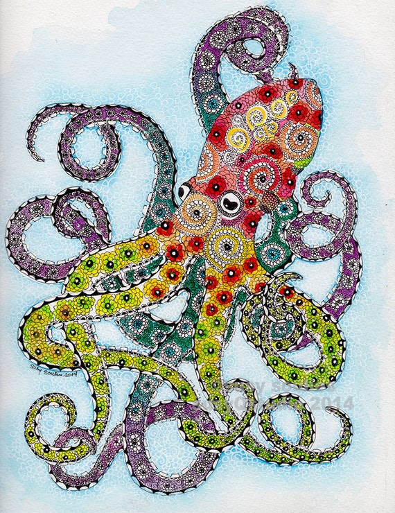 Items similar to whimsical colorful octopus art print on etsy for Colorful octopus painting
