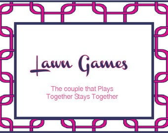 Navy and Fuschia Lawn Game Sign