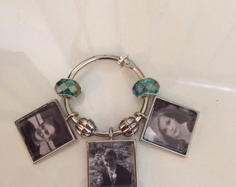 Photo memory charms for bridal bouqet