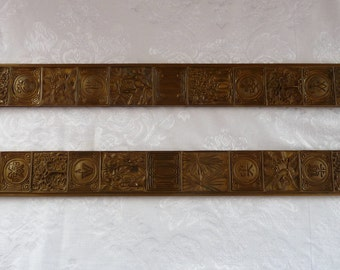 signed TIFFANY STUDIOS Set Two (Pair) Bronze Blotter Ends in the BOOKMARK Pattern #1002