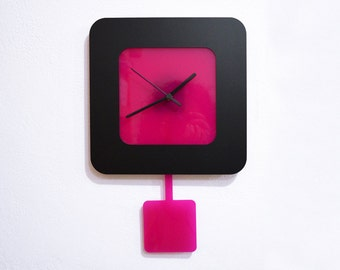 Simply Square Black & Fuchsia -Modern Pendulum Wall Clock
