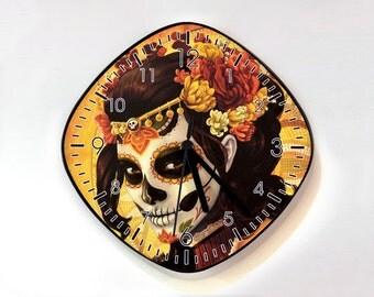 Day of the Dead Sugar Skull Catrina Calavera - Wall Clock