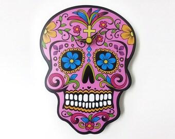 Pink Sugar Skull - Day of the Dead -Dia de Los Muertos - Calavera - Wall Clock