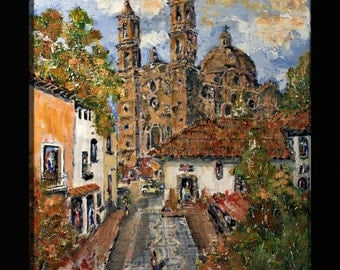 """RETOUCHED CANVAS PRINT """"Taxco, Quaint Mining Town in Mexico"""", Jorge Garza palette knife impressionist painting, fine art"""