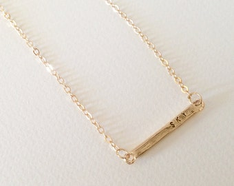 Gold Bar Necklace Dainty Necklace Personalized Bar